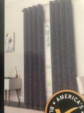 "Black-Out Light-Blocking Curtain Panel Navy Blue Stripe Grommet 50""x84"" 1 Panel"