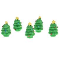 5pcs/set Dollhouse Miniature Christmas Tree Garden Ornament Landscape Decorat qi