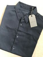 "ALL SAINTS INK NAVY BLUE ""HERMOSA"" LOGO SHORT SLEEVE SHIRT TOP - XS M - NEW TAGS"