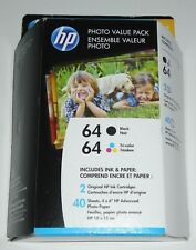HP 64 Black / Tri-color Genuine  Ink, 2 Cartridges + 40 Sheets Photo Paper 06/21