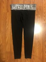 PINK! Victoria's Secret Black Sequined Bling Foldover Fitted Yoga Pants Size Med