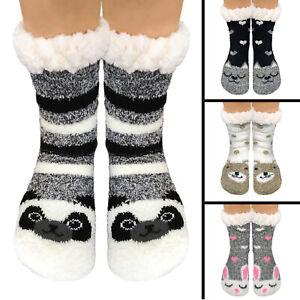 Ladies Girls Warm Fluffy Soft Animal Fur Fleece Lined gripper Bed Slipper Socks