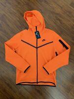 Nike Tech Fleece Full Zip-Up Hoodie Sportswear Mens Medium Electro Orange/Black