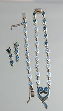 Sterling Silver Mexico Taxco Turquoise Heart Link Necklace Earring Bracelet Set