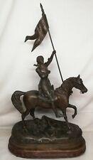 Rare Ancienne statue régule Jeanne d'Arc Part L. Raphaël XIX Ème Siècle H 50 cm