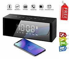 Alarm Clock 10W Bluetooth Wireless Speaker with LED Clock, FM Radio, Big Sound,
