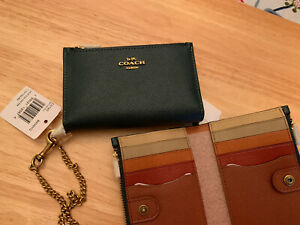 Brand New COACH Zip Chain Card Case In Color-block Green !