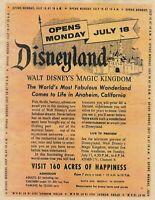 DISNEYLAND OPENS WALT DISNEY'S MAGIC KINGDOM MEDIA REPRINT