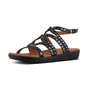 $130 Womens Fitflop Strata Gladiator Sandals Whipstitch Leather Black 9