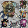 Plus Size Womens Short Sleeve 3D Skull Printed O-Neck Tee T-Shirt Blouse Tops