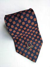 Tommy Hilfiger Silk Mens Necktie Tie Blue Orange Vintage Lion Crest Broncos