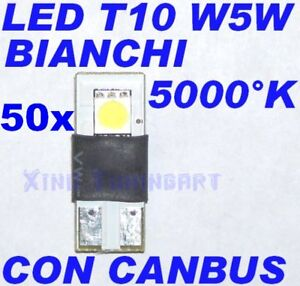 Nr 50 White LED 5000° K Can Bus T10 W5W Error Free Spies
