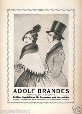 Pelzhaus Brandes Hannover Reklame von 1924 Seilwinderstrasse Zylinder Pelz Hut