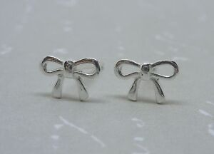 Silver Bow Earrings - Tiny Solid Sterling 925 Silver Small Bow Ribbon Ear Studs