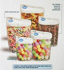 4PZ IN PLASTICA BPA libera ALIMENTI CARAMELLE PASTA cereali STORAGE BOX SET CONTENITORI COPERCHI &