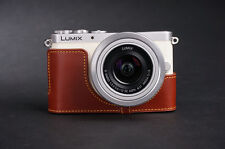 Genuine Real Leather Half Camera Case Bag Cover for Panasonic GM1 GM1S Brown