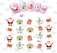 Nail Art Water Decals Transfer Stickers Santa Christmas Snowman (BLE2327)