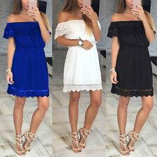 Sexy New Women Summer Lace Beach Boho Party Evening Short Mini Dress Sundress