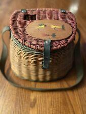 Vintage Woven Wicker Fishing Creel Basket Painted Fly Fishing Lid
