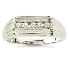 Men's 100% 10K White Gold Genuine Channel Set White Diamond Ring Band .15ct
