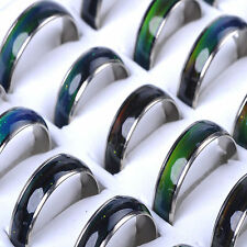 10Pcs Lot Wholesale Jewelery Bulk Mixed Change Color Silver Plated Mood Rings NT