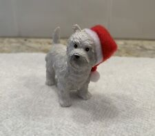 Westie West Highland White Terrier Dog Wearing Santa Hat Christmas Ornament