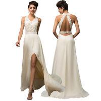 V-Neck Halter Backless Chiffon Fishtail High-Split Bride Ball Gown Wedding Dress
