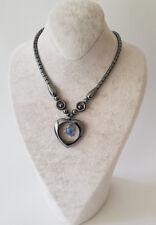 Halskette Kette Hämatit Stein(Blutstein) In Herz Form Mit Blau Perlen