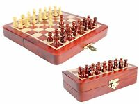 """Wooden Chess Set Travel Magnetic Folding Board Bud Rose wood 5"""" + 2 Extra Queens"""