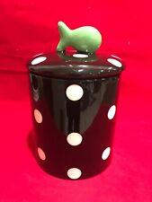 MSC Main Street Collection Cat Treat Jar Black White Polka Dots Fish on Top NWT