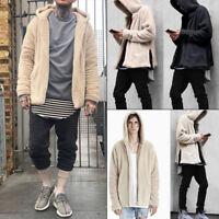 Winter Mens Hoodie Jacket Hooded Fluffy Fleece Sweatshirt Outwear Coat Cardigan