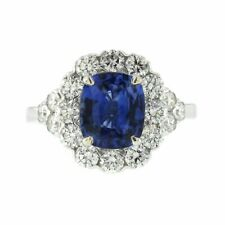 3 CT Ceylon Sapphires & 1.48 CT Diamonds in 18K White Gold Engagement Ring