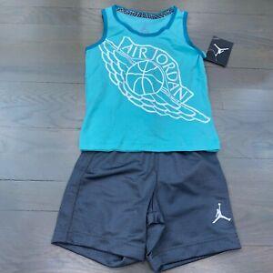 Nike Air Jordan Wing Jumpman Toddler Green Tank Top & Grey Short Set Size 3T New