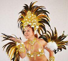 BRAZILIAN WHITE/GOLD SHOW GIRL SAMBA CABARET COSTUME bikini/Custom made