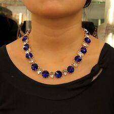 Collier Chaine Cristal Goutte Rond Brillant Bleu Original Soirée Mariage QT 10
