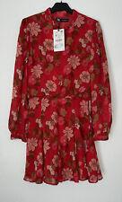 Zara Rojo Multi Floral Estampado Mini Volantes Boho Vestido con arco Talla M BNWT