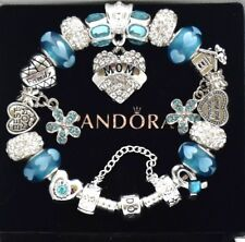 Pandora Bracelet Silver Aqua Blue MOM Family Mother Day European Charms NIB