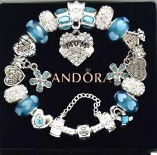 Pandora Bracelet Silver Aqua Blue MOM Family Mother Day European Charms NIB