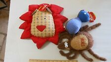 Large Dog Toy Plush Squeaker - Three Toys - Lion, Tick and Hippo