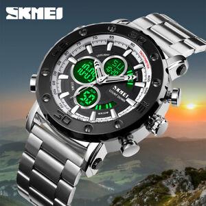SKMEI LED Light 3 Time Quartz Men's Watch Luxury Male Digital Wristwatch 1636 1x
