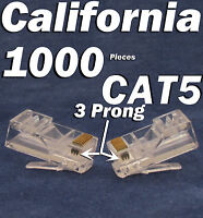 1000 X Plug 3 Prong RJ45 Network CAT5 Cable Modular 8P8C Connector Ethernet 5e