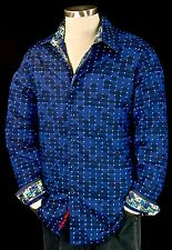 "Robert Graham ""Dark Matter"" NWT 248 Navy Dot Sports Shirt Medium"