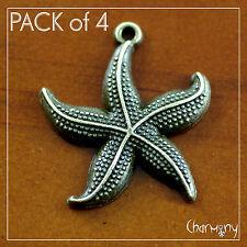Antique Bronze Starfish charms ~PACK of 4~ ocean beach sea star animal pendant