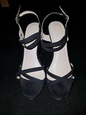 Unbranded Black Suede Effect Christmas  Strappy Wedge Sandals. UK 5. Worn Once.