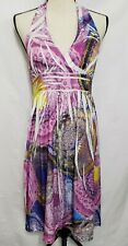INGEAR halter Sundress Dress Purple Blue Studded Open Back Black White S Small