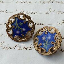 2 BOUTONS Emaillés 1900 Art Nouveau Email 16 mm Enamel Buttons 19C