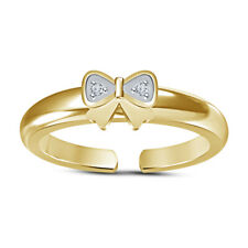Tie Knuckle Pinky Adjustable Toe Ring 14K Yellow Gold Finish Cubic Zirconia Bow