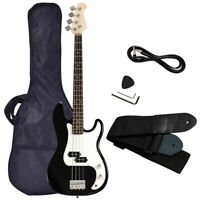 New 4 String Electric Bass Guitar with Strap Guitar Bag Amp Cord Black Full Size