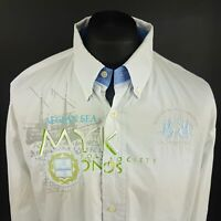 LA MARTINA Mens Shirt 2XL Long Sleeve WHITE Regular Fit No Pattern Cotton