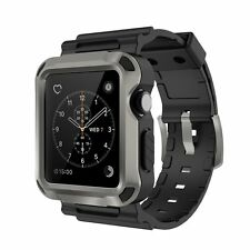 42mm Apple Watch iWatch Grey Rugged Protective Case Cover & Wrist Strap Band